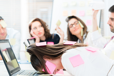 too many: Women and men in office being tired and frustrated, too many tasks