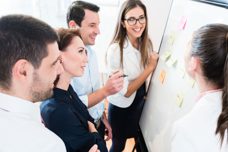 sticky: Business brainstorming and resource planning with team at board in office Stock Photo