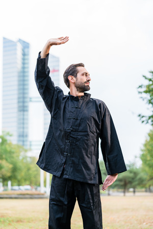 qigong: Martial arts sportsman practicing karate in city