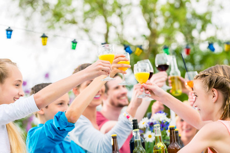 Friends and neighbors toasting on garden party Stock Photo - 57677069
