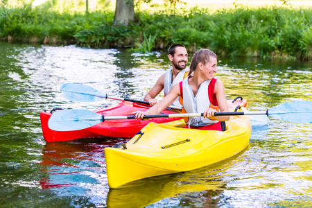 jacked: Friends going down river in sport canoe