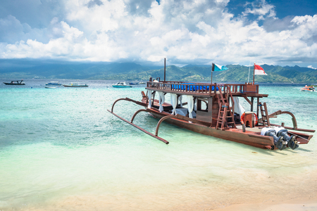 excursion: Catamaran as excursion boat at tropical beach Stock Photo