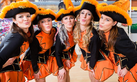 German folklore group dancing in Carnival Fasching on Rose Monday