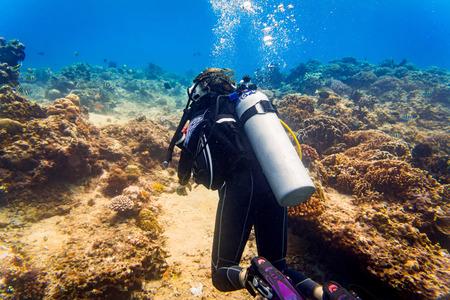 Woman diver at tropical coral reef scuba diving in tropical ocean