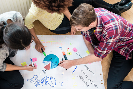 checker: Three young people analyzing pie chart and writing observations on a large paper sheet during brainstorming session