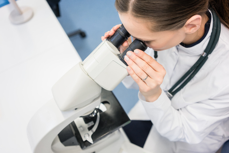 medical doctors: Doctor or biologist with stethoscope scrutinizing tissue under microscope Stock Photo