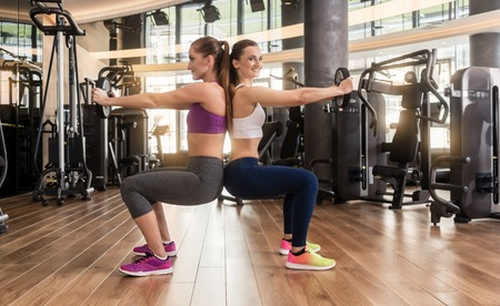 wooden floors: Side view of two young women smiling while exercising together back to back with weight plates in the interior of a modern fitness club Stock Photo