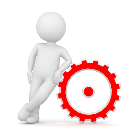 3D Rendering of a man leaning on a red cogwheel on white background Stock Photo