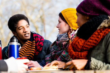 Young friends talking at picnic outdoors in the park in a cold day of winter