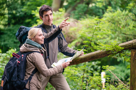 Hikers, woman and man, in the woods orientating with trail map