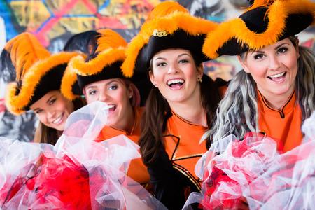 fasching: German traditional dance group Funkenmariechen in carnival celebration