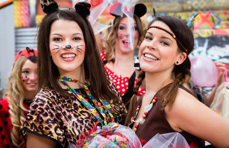 Girls on Rose Monday celebrating German Fasching Carnival