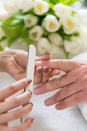 varnished: Close-up of the hands of a qualified manicurist filing the nails of a young woman with a white buffer in a trendy nail salon