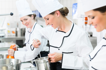 Team of chefs in production process of system catering