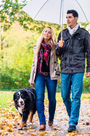 Woman and man having walk with dog in autumn rain in park Standard-Bild