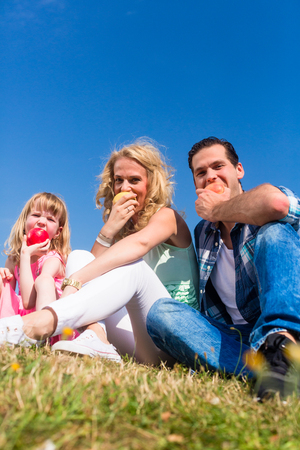 Mommy, daddy and little girl sitting on meadow, eating fruit