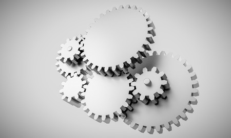 3d rendering of Gears locked in interdependence - concept  Stock Photo