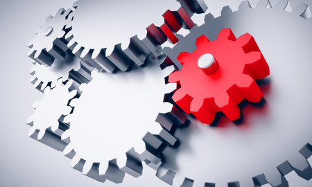 3d rendering of Gears with one little red wheel - concept for innovation