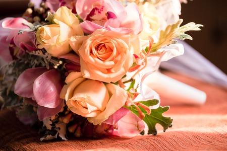 Beautiful wedding Flower bouquet in church