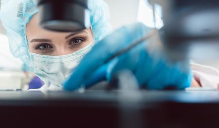 Lekarz lub technik laboratoryjny dostosowujący igłę do zapłodnienia ludzkiego jaja pod mikroskopem