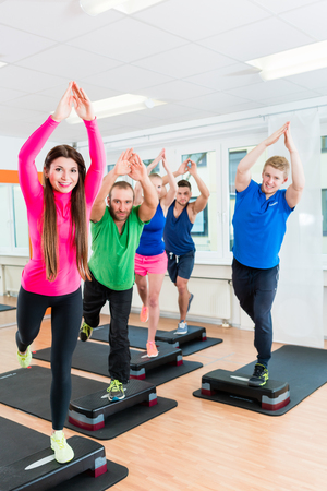Workout group in fitness hall doing gymnastics with stepper