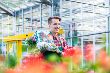 Portrait of a cheerful young man carrying a bag of high-quality potting soil while working as floristry specialist in a modern flower shop Stock Photo