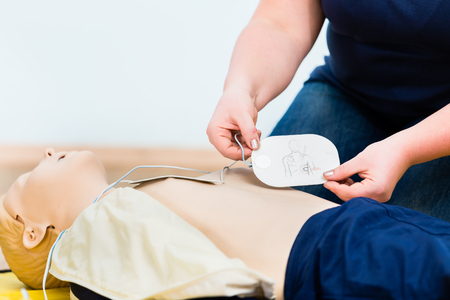 Woman in first aid class training reanimation Stok Fotoğraf