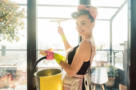 Visibly happy woman as homemaker at spring clean working on the windows Фото со стока - 119765799