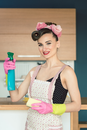 Cheerful and determined housewife cleaning the kitchen