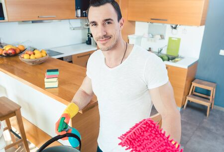 Man is proud of doing the chores so efficiently