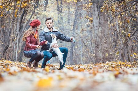 Woman and man petting the dog walking it in a colorful fall setting having fun in nature