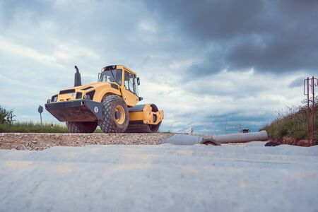 Bulldozer working on sewer construction project