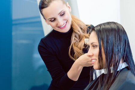 Competent hairdresser cutting and styling hair of woman in her shop