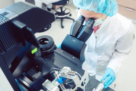 Woman doctor working on manipulator fertilizing human eggs in fertility clinic lab Standard-Bild