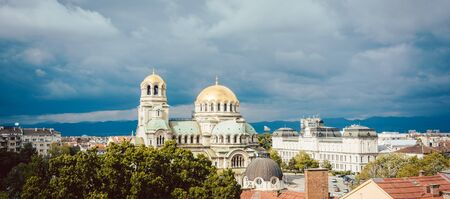 City view of Sofia, Bulgaria with the orthodox Alexander Nevski Cathedral