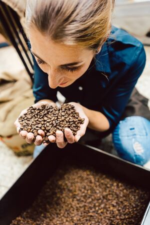 Barista woman testing the aroma of fresh coffee beans sniffing