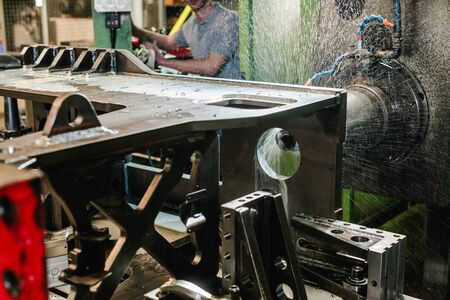 CNC milling machine in metal working factory in autonomous operation Stock Photo