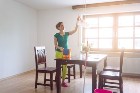 Housewife dusting lamps and furniture during spring cleaning
