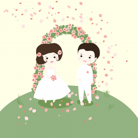 marrying: The bride and groom. Marrying nature. Illustration
