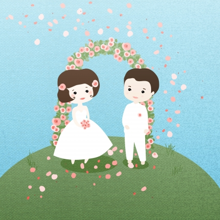 outdoor wedding: The bride and groom. Marrying nature. Illustration