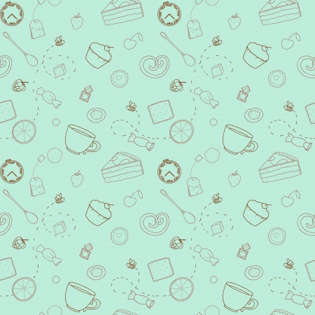 Repeating pattern on mint background with sweets Vector