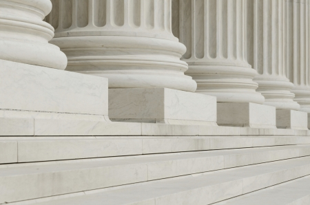 court judge: The row of classical columns with steps