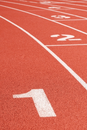 Running track curve with lane numbers  photo