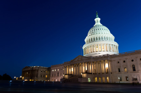 us government: View on the US Capitol in Washington DC on dusk Stock Photo