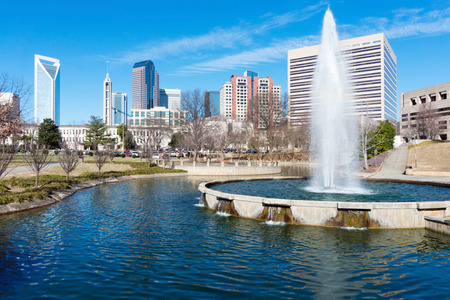 View on uptown Charlotte, NC from Marshall Park