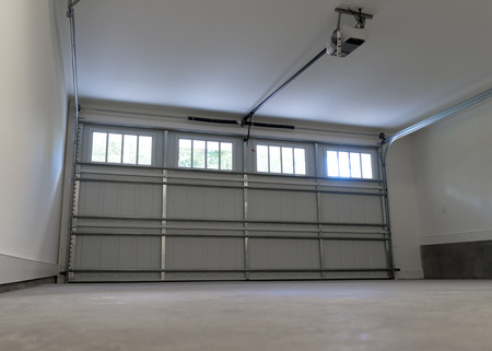 two car garage: Residential house two car garage interior