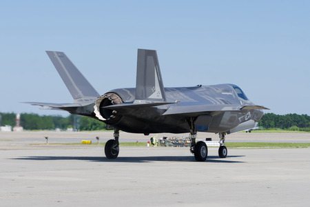 on off: F35 Lightning II Aircraft getting ready to take off