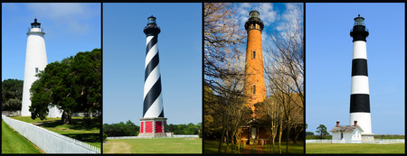 Outer banks lighthouses. North Carolina Atlantic coast. USA