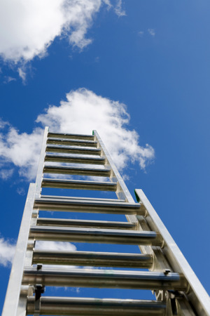 Construction ladder reaching the clouds