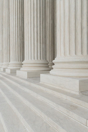The row of classical columns with steps